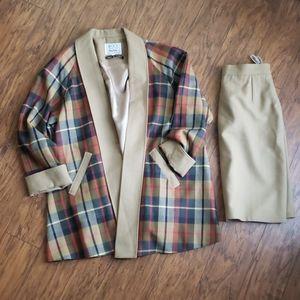 Avoca plaid jacket and skirt